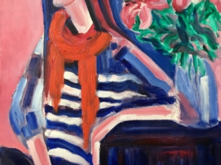 Girl with red lilies