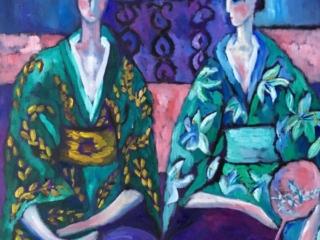 Two sisters in green kimono