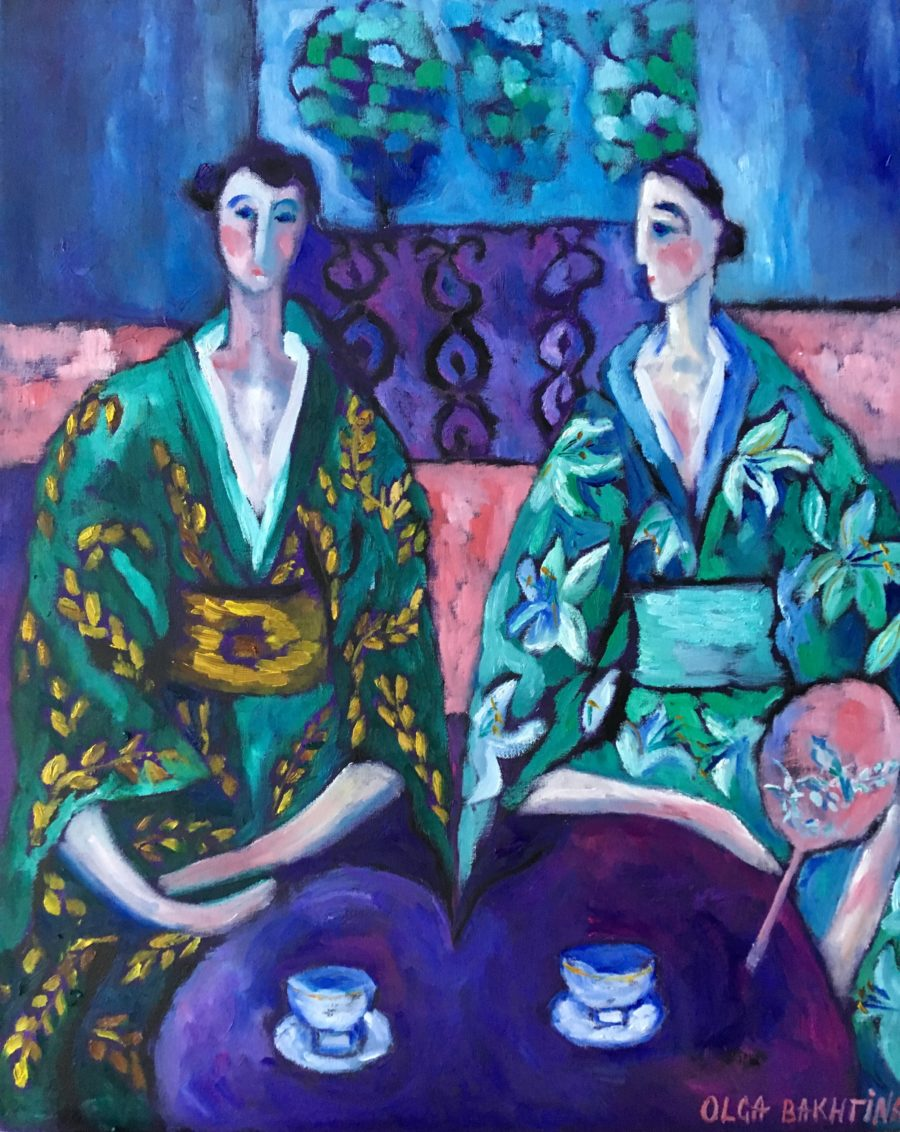 Two sisters in green kimono painting | by Olga Bakhtina