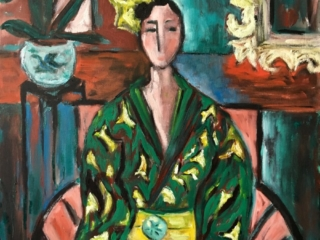 Green kimono and an orchid