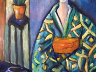 Green kimono and gold fish