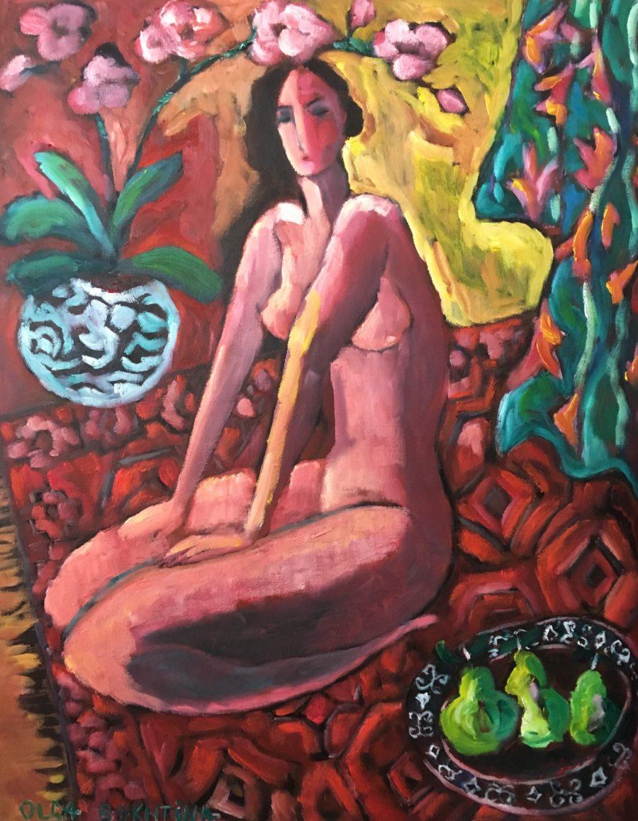 Green kimono, nude and pears painting | by Olga Bakhtina