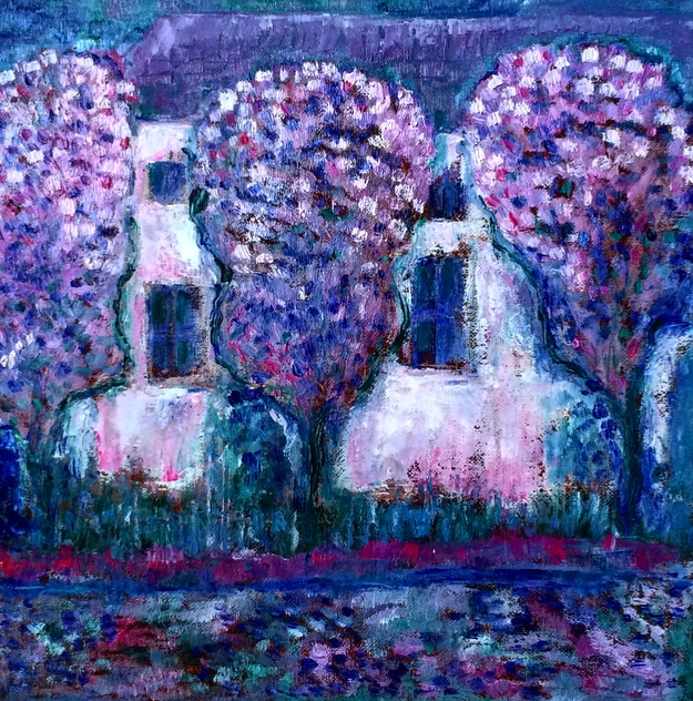Blooming Jacarandas painting | by Olga Bakhtina