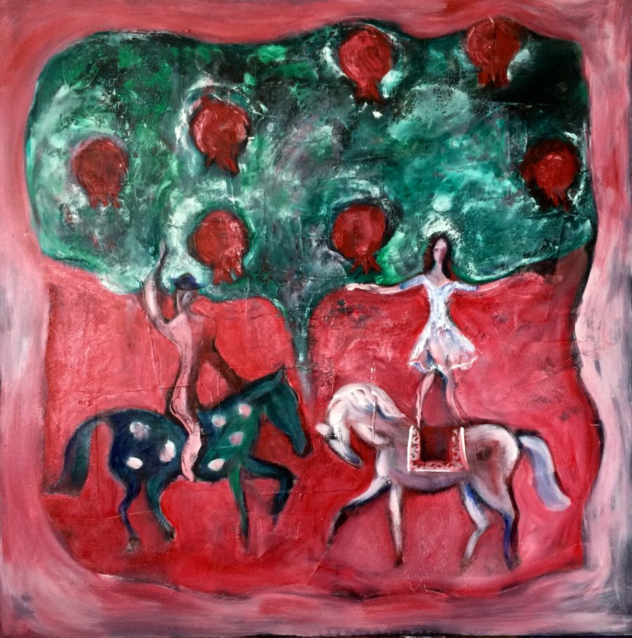 Horse-riders in pomegranate garden