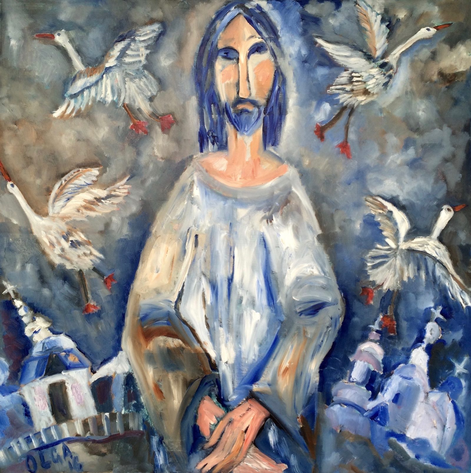 Risen Christ painting | Olga Bakhtina
