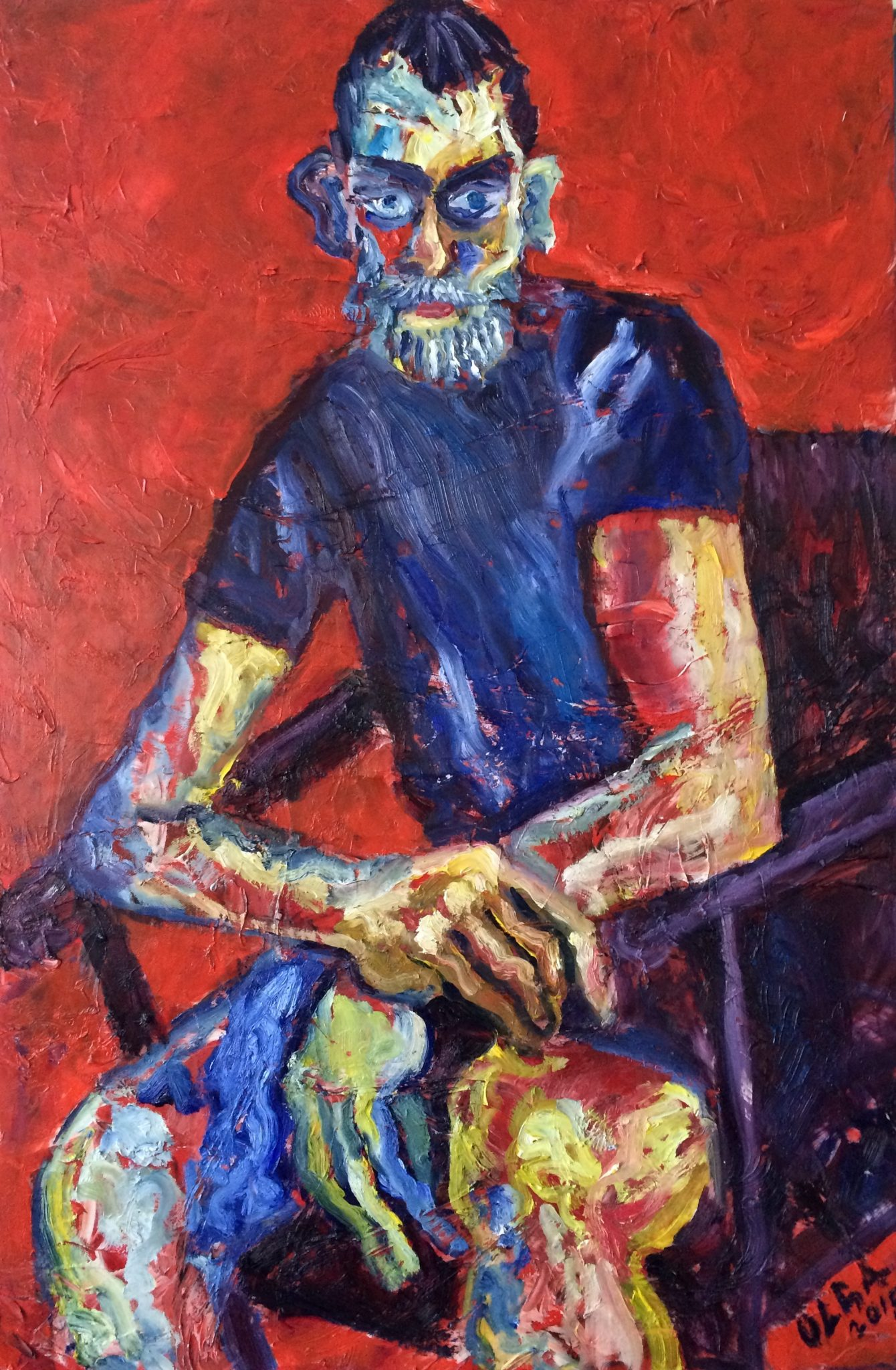 Young man in blue painting | Olga Bakhtina